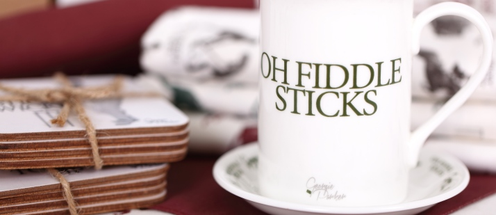 British Oh Fiddle Sticks bone china mug by Georgie Parker