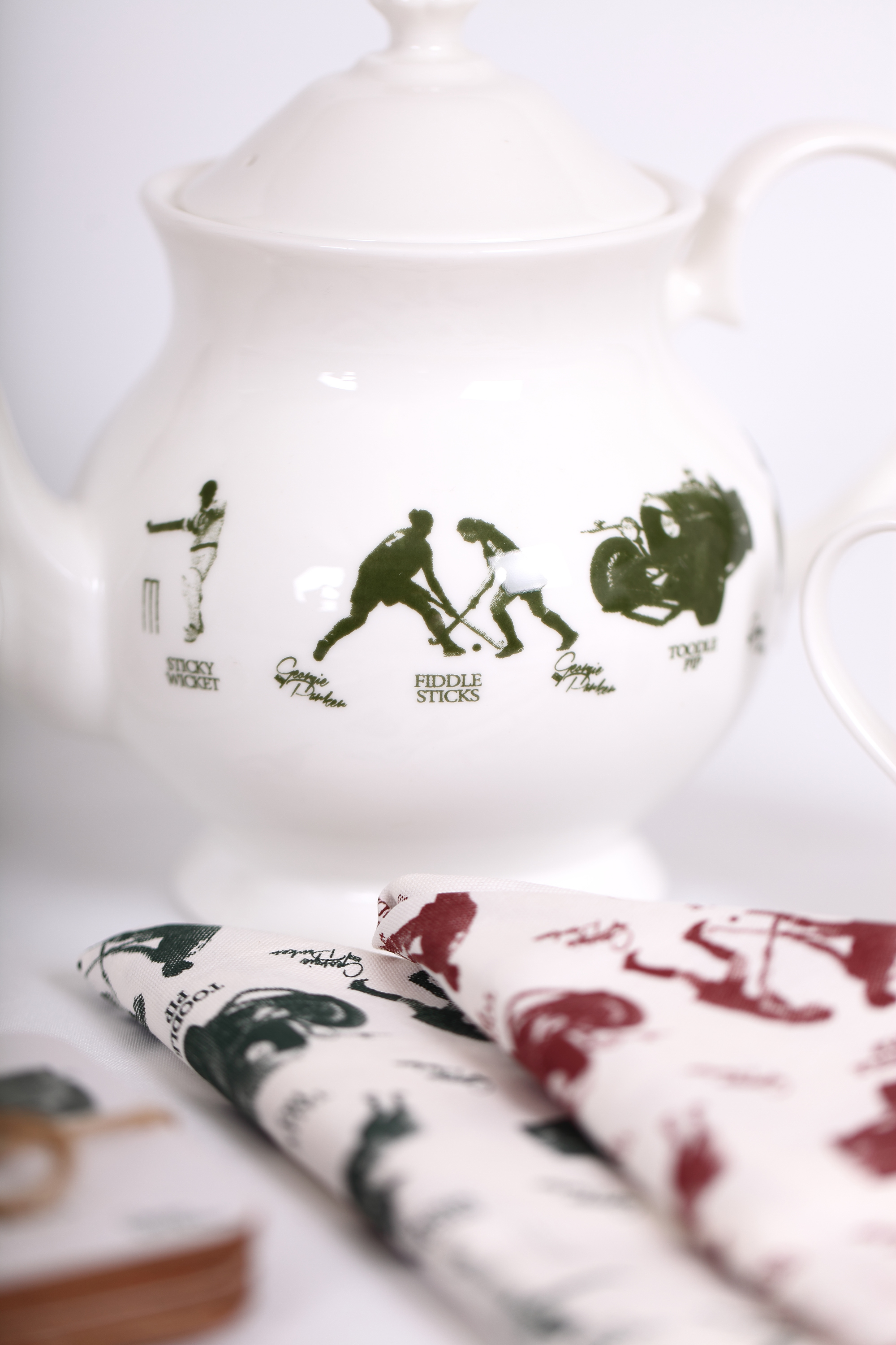 Bone China Teapot and Tea Towels