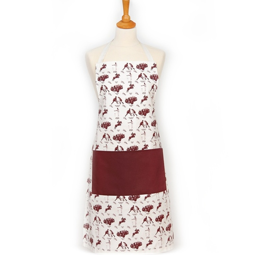 Unique British made Georgie Parker red kitchen apron.
