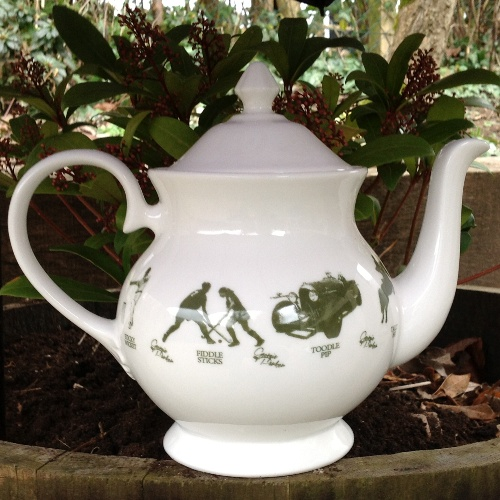 Unique British made Georgie Parker green bone china teapot.