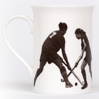 Unique British made Georgie Parker grey Oh Fiddle Sticks bone china mug.