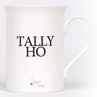 Unique British made Georgie Parker blue Tally Ho bone china mug.