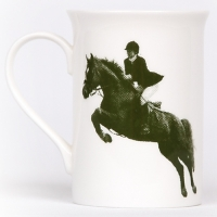 Unique British made Georgie Parker green Tally Ho bone china mug.