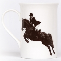 Unique British made Georgie Parker grey Tally Ho bone china mug.