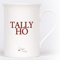 Unique British made Georgie Parker red Tally Ho bone china mug.