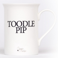 Unique British made Georgie Parker blue Toodle Pip bone china mug.