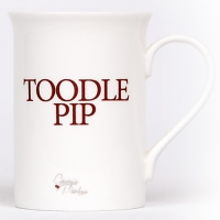Unique British made Georgie Parker red Toodle Pip bone china mug.