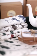 Tea Towels, Bone Bone China Teapot and Cork Coasters